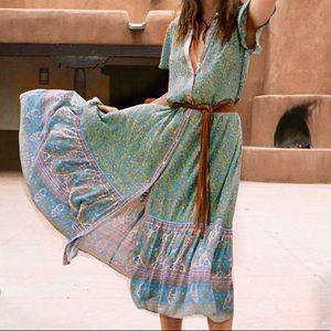 Dresses & Skirts - Jasmine Maxi DRESS Jade Green Floral Long Flutter